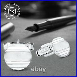 Real Sterling Silver. 925 Solid Engravable Cufflinks with Luxury Presentation Box