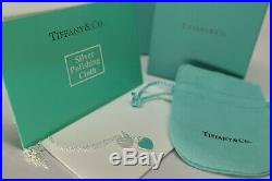 Return to Tiffany Enamel Mini Double Heart Tag Solid Sterling Silver Necklace 16