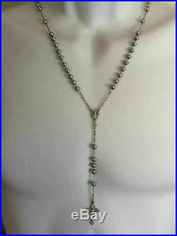 Rosary Beads Necklace 24 Solid 925 Sterling Silver Italy Mens Womens Rosario