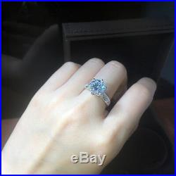 Round Cut 3 CT Diamond Cluster Engagement Ring Solid 925 Sterling Silver
