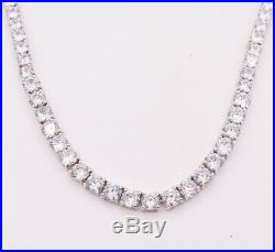 Round Cut CZ Graduated Tennis Chain Necklace Real Solid Sterling Silver 29.50CTW