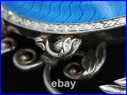 Russian Solid Sterling Silver Guilloche Enamel Desk Alarm Clock Watch Timepiece