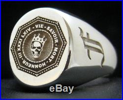 SIGNET RING 17x14 LARGE YOUR FAMILY CREST CUSTOM ENGRAVED SOLID SILVER BY JOLLER