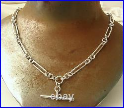 SOLID 925 STERLING SILVER ALBERT CHAIN FOB NECKLACE T BAR and SWIVEL CLASPS