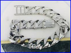 SOLID GENUINE 925 Sterling Silver SQUARE CURB RIBBED EDGE GENTS BRACELET 12mm