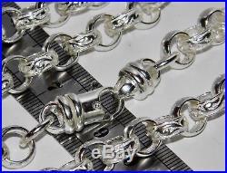 SOLID STERLING SILVER 22 inch HEAVY BELCHER CHAIN 10mm PATTERN & PLAIN 73.0g