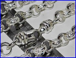 SOLID STERLING SILVER 26 inch HEAVY BELCHER CHAIN 9mm PATTERN & PLAIN 91.7g