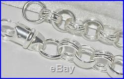 SOLID STERLING SILVER 30 inch BELCHER CHAIN PATTERN & PLAIN 11MM HEAVY 92.3g