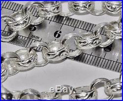 SOLID STERLING SILVER 8.75 inch BELCHER BRACELET 11mm PATTERN & PLAIN 29.2g