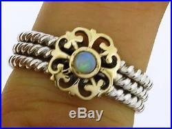 SR242-76 Genuine 9K Solid Gold 925 Sterling Silver Natural Opal Ring Rope size 7