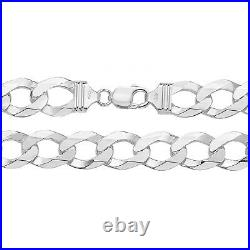 STERLING SILVER MENS 9 INCH CURB BRACELET HEAVY CHUNKY 14mm Solid 925 Silver