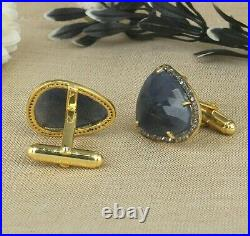 Sapphire And Diamond 14K Solid Gold 925 Sterling Silver Cufflinks Jewelry