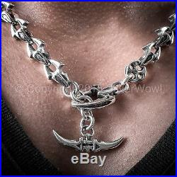 Shark Link Mens Necklace Very Unusual Design SOLID 925 Sterling Silver