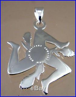 Sicilian Trinacria pendant Jewelry Solid. 925 sterling silver 28mm
