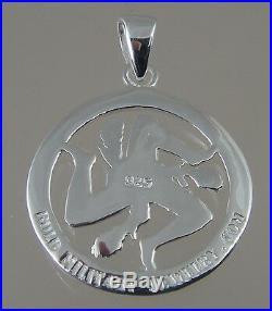Sicilian Trinacria pendant Jewelry Solid sterling 20MM