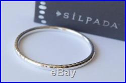 Silpada B1482 Slim. 925 Sterling Silver Hammered Bangle Bracelet Solid Great