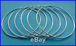 Silver Bangles Solid Sterling Silver Plain Round Bracelets