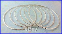 Silver Bangles Solid Sterling Silver Plain Round Flat Bracelets Hammered Texture