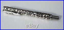 Skull Carving Solid 925 Sterling Silver Pen Handmade Unique Gothic Jewelry