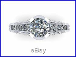 Skull Engagement Ring- Solid Silver with Lab Created Ctr- UDINC0323