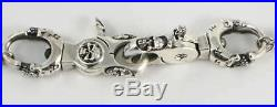 Skull Solid 925 Sterling Silver Belt Mens Wallet Chain New Biker Rocker Heavy 24