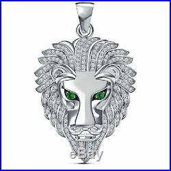 Solid 10K White Gold Finish 2.00 CT Round Diamond Lion Head Pendant Charm Piece