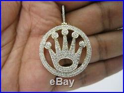 Solid 10K Yellow Gold Finish 2.00 Ct Diamond Crown Medallion Pendant Pave Charm