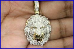 Solid 10K Yellow Gold Finish 2.30 CT Round Diamond Lion Head Pendant Charm Piece
