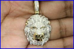Solid 10K Yellow Gold Finish Round Diamond Lion Head Pendant Charm Piece 4.50 CT