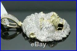 Solid 10K Yellow Gold Over Round Diamond Lion Head Pendant Charm Piece 4.50 CT