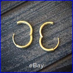 Solid 10mm Sterling Silver Men's Women's Small 14K Gold Hoop Huggie Earrings