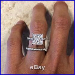 Solid 14K White Gold Over 1.50Ct Princess Cut Bridal Set Wedding Engagement Ring