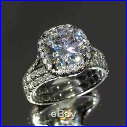 Solid 14k White Gold 3Ct Cushion Shape Diamond Engagement Wedding Ring Set