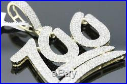 Solid 14k Yellow Gold Finish Men's VVS1 Diamond 100 Emoji Pendant Charm Piece