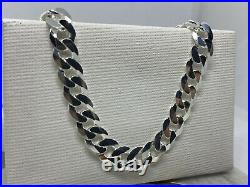 Solid 925 Genuine Sterling Silver 8mm Men&Woman Curb Chain Necklace All Size
