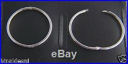 Solid 925 STERLING SILVER Large 19mm PLAIN HINGED HOOP SLEEPER EARRINGS PAIR UK