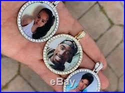 Solid 925 Silver Custom Hip Hip Photo Pendant Iced CZ Picture Flooded Out Gold