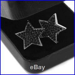 Solid 925 Sterling Silver 1.30 CT Round Cut Black Diamond Star Stud Earrings