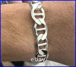 Solid 925 Sterling Silver 10MM Mariner Chain Bracelet 8or 8.5 inches