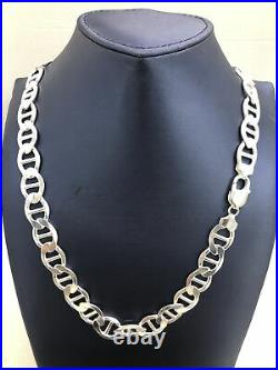 Solid 925 Sterling Silver 10MM Mariner Chain Necklace ITALY 925- Sizes 18-30