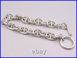 Solid 925 Sterling Silver 10mm Anchor Link Men's Bracelet 7.87 Length