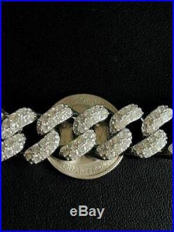 Solid 925 Sterling Silver 15mm Miami Cuban Chain 18 20 Choker 80ct Lab Diamond