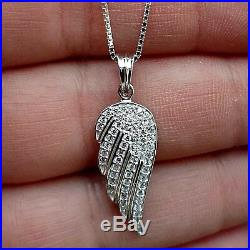 Solid 925 Sterling Silver 1ct Diamond Angel Wing charm Pendant Necklace Women's