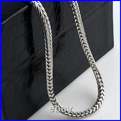 Solid 925 Sterling Silver 3.7mm Mens Solid Franco Square Box Link Necklace