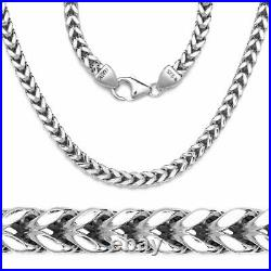 Solid 925 Sterling Silver 4MM Mens Solid Franco Square Box Link Chain Necklace