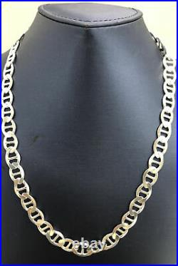 Solid 925 Sterling Silver 7.5MM Mariner Chain Necklace ITALY 925 NEW