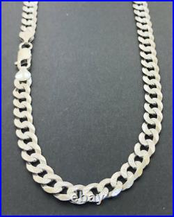 Solid 925 Sterling Silver 7mm Diamond Cut Pave Mens Cuban Curb Chain Necklace