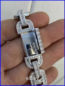 Solid 925 Sterling Silver Baguette Gucci Link Chain Iced 15mm Thick Flooded Out