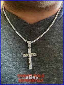 Solid 925 Sterling Silver Cross W. Jesus Pendant Baguette Iced Diamond Necklace