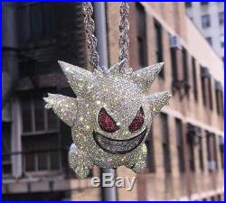 Solid 925 Sterling Silver Cz Cartoon Gengar Iced Out Handmade Only Pendant Gift
